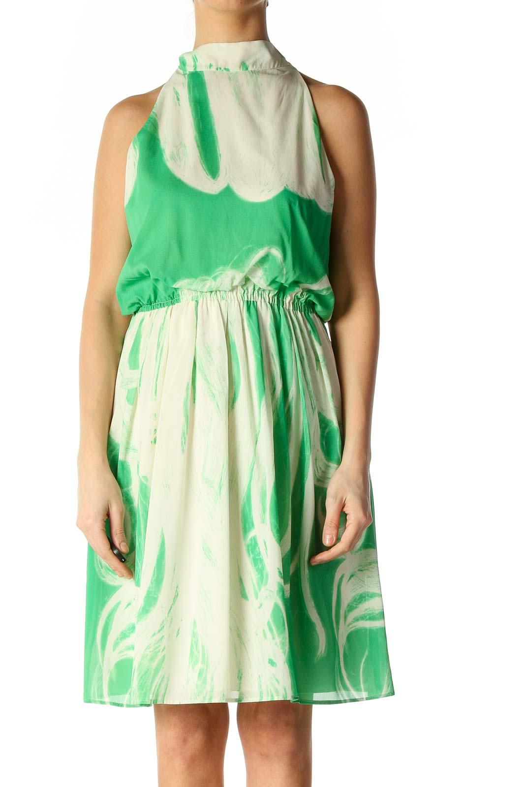 Beige Solid Retro A-Line Dress Front