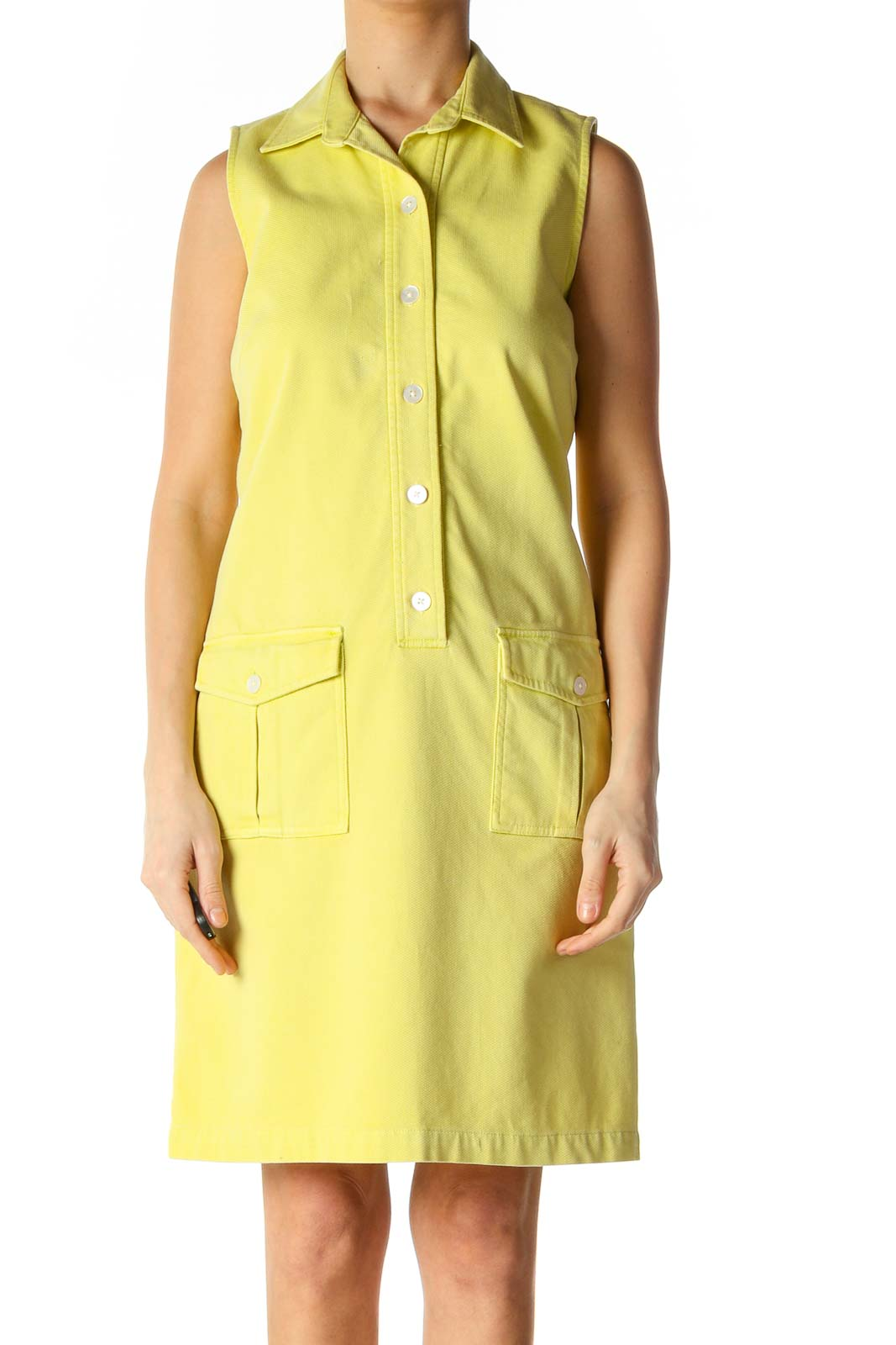 Yellow Solid Casual A-Line Dress Front