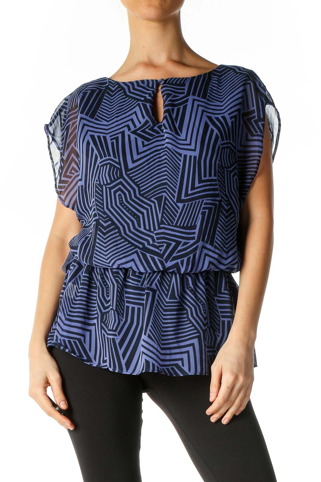 Blue Retro Blouse Front