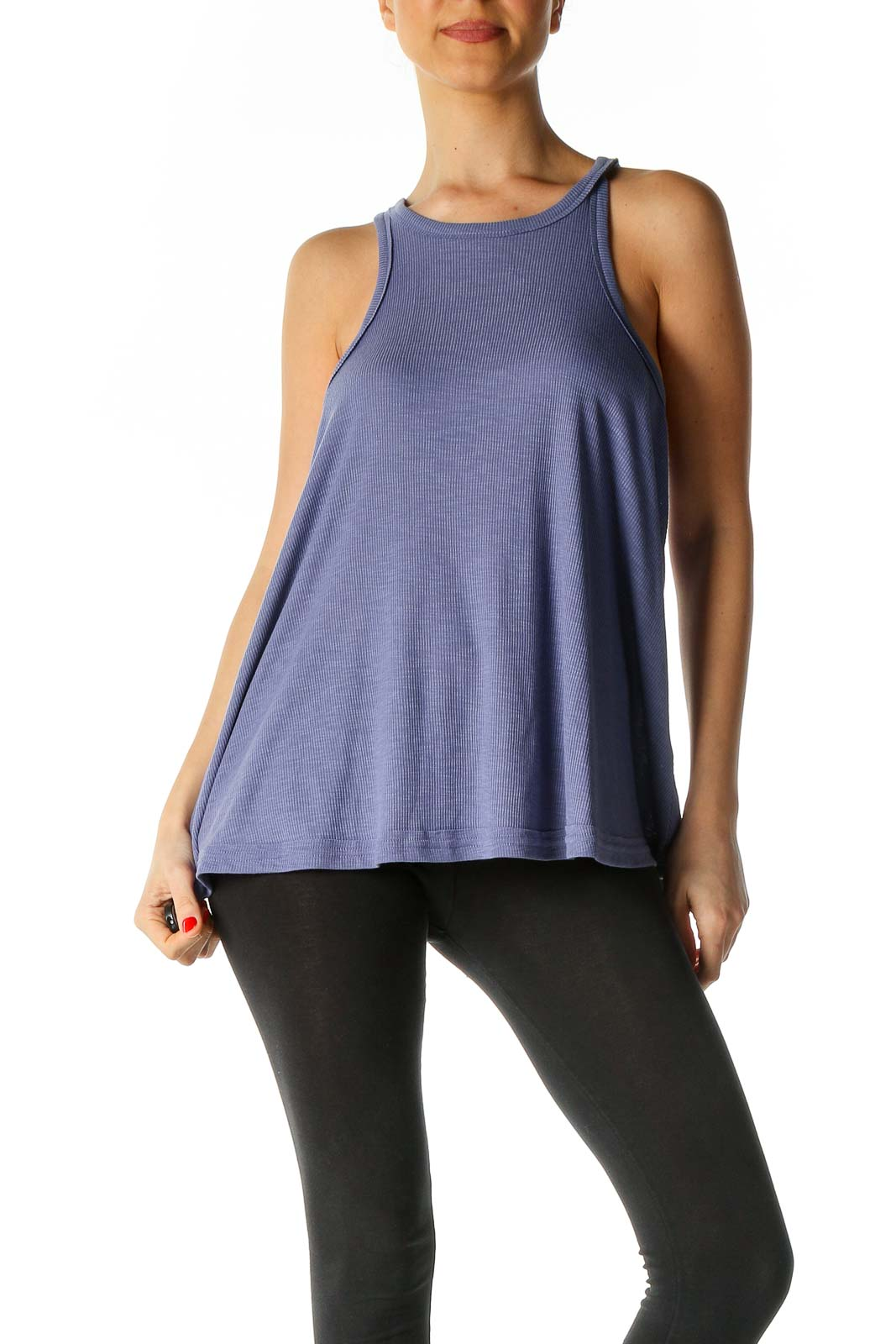 Blue Solid Holiday Tank Top Front