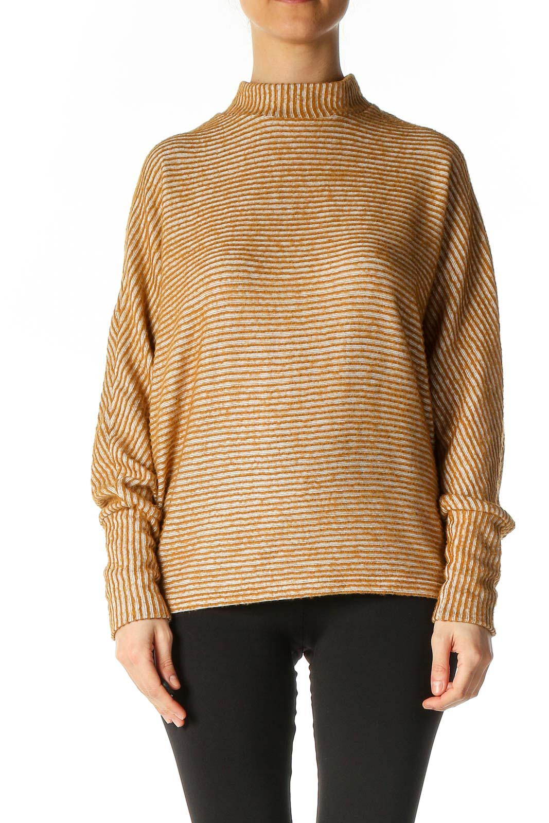 Brown Striped Casual Sweater Front