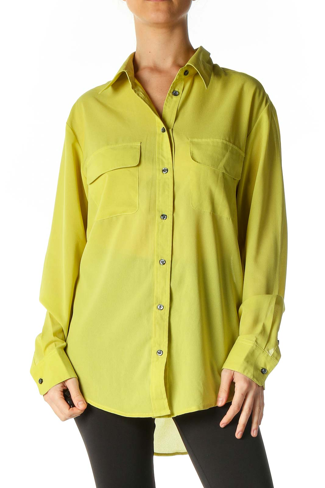 Green Solid Casual Shirt Front