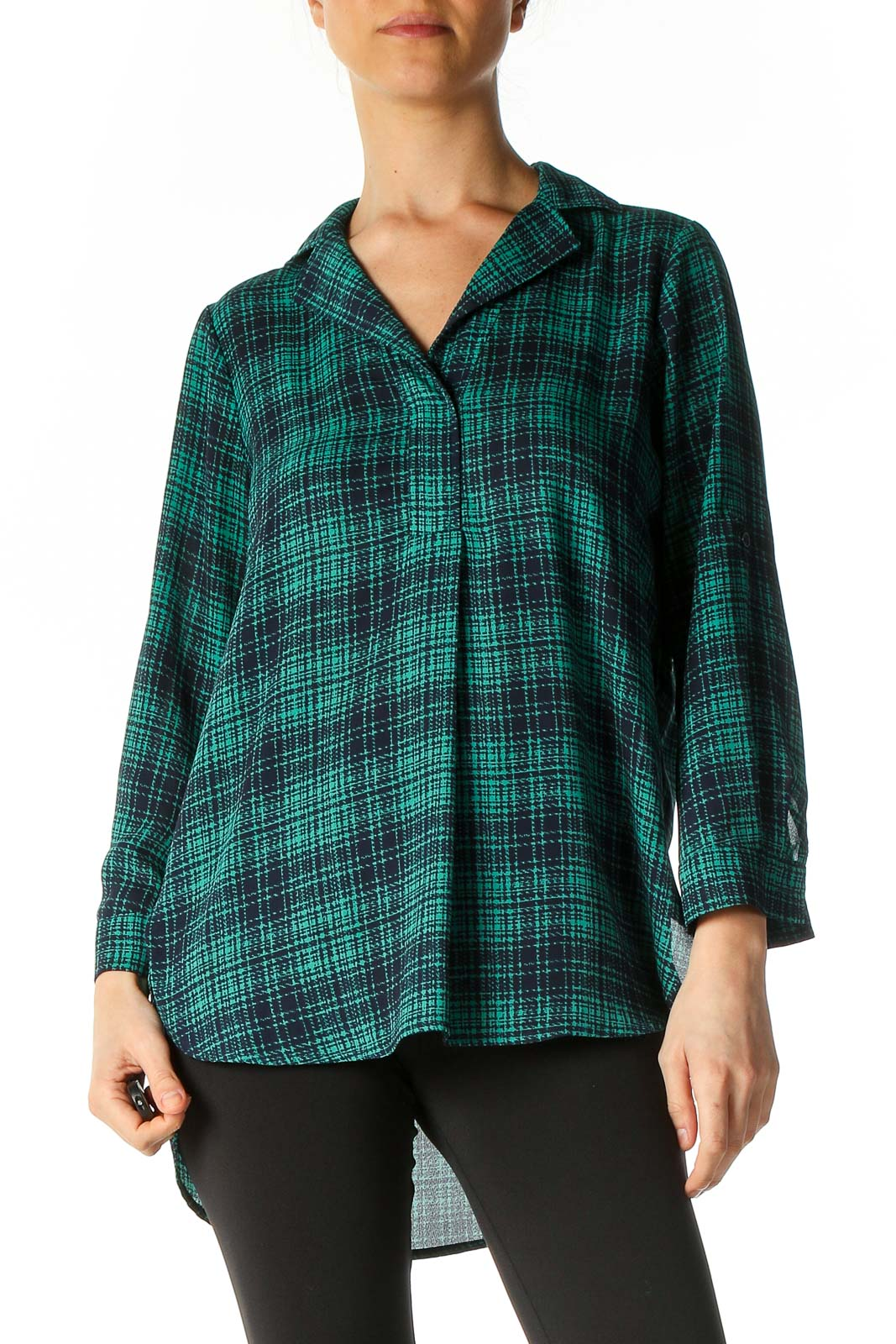 Green Checkered Casual Blouse Front