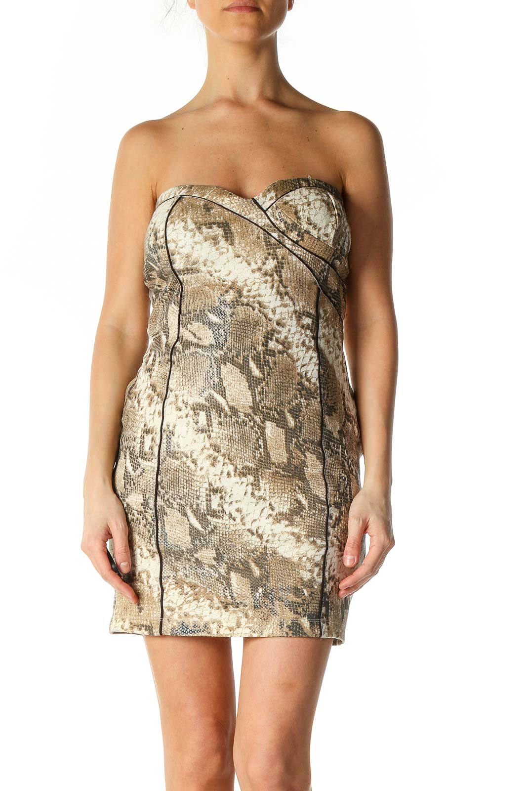Gray Animal Print Chic Sheath Dress Front