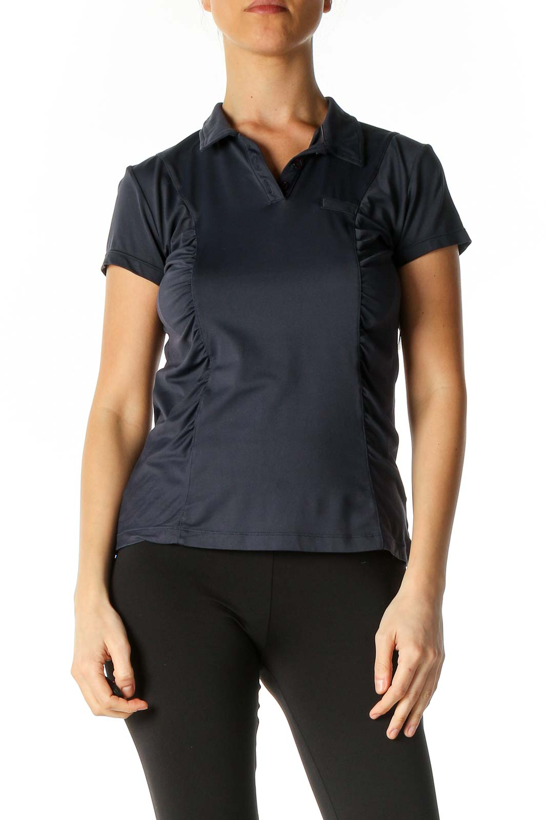 Blue Solid Activewear Polo Shirt Front