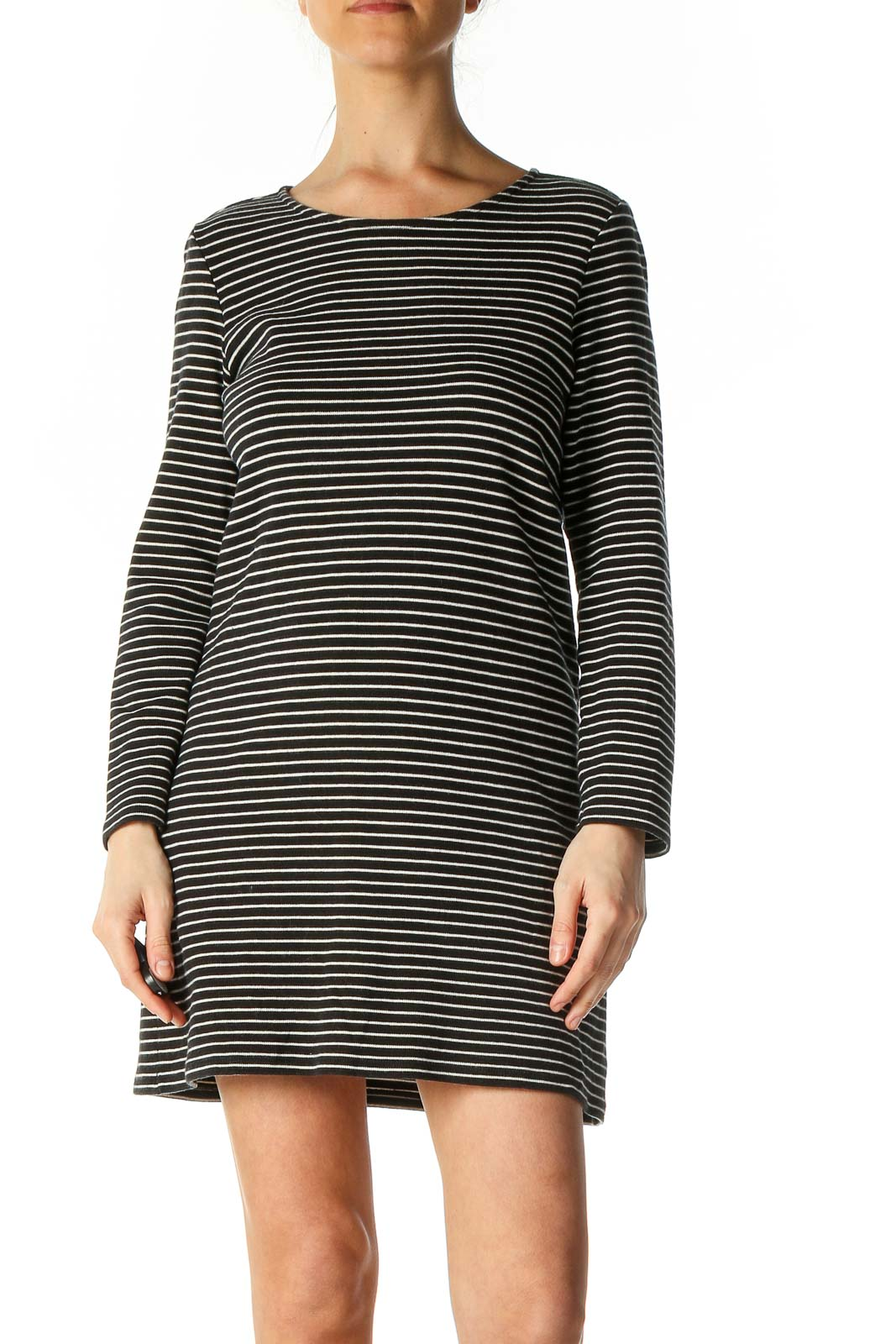 Black Striped Casual Shift Dress Front