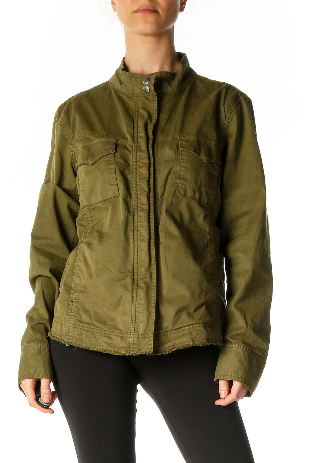 Green Military Jacket Front