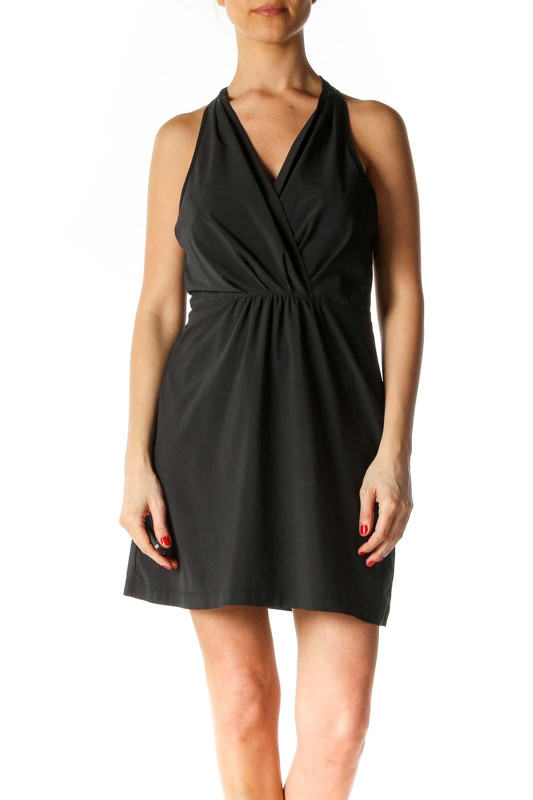 Black Solid Activewear Shift Dress Front