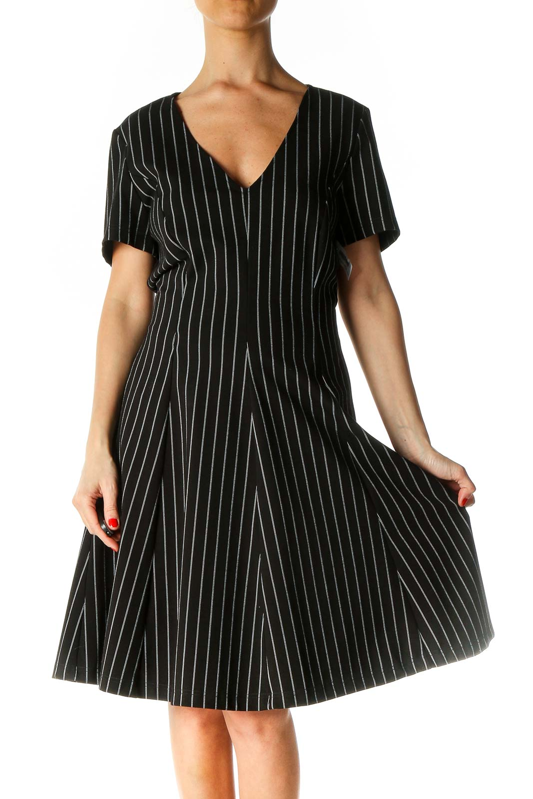 Black Striped Casual Fit & Flare Dress Front