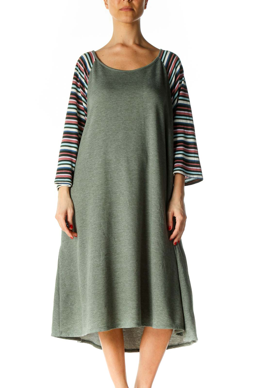 Green Textured Casual A-Line Dress Front