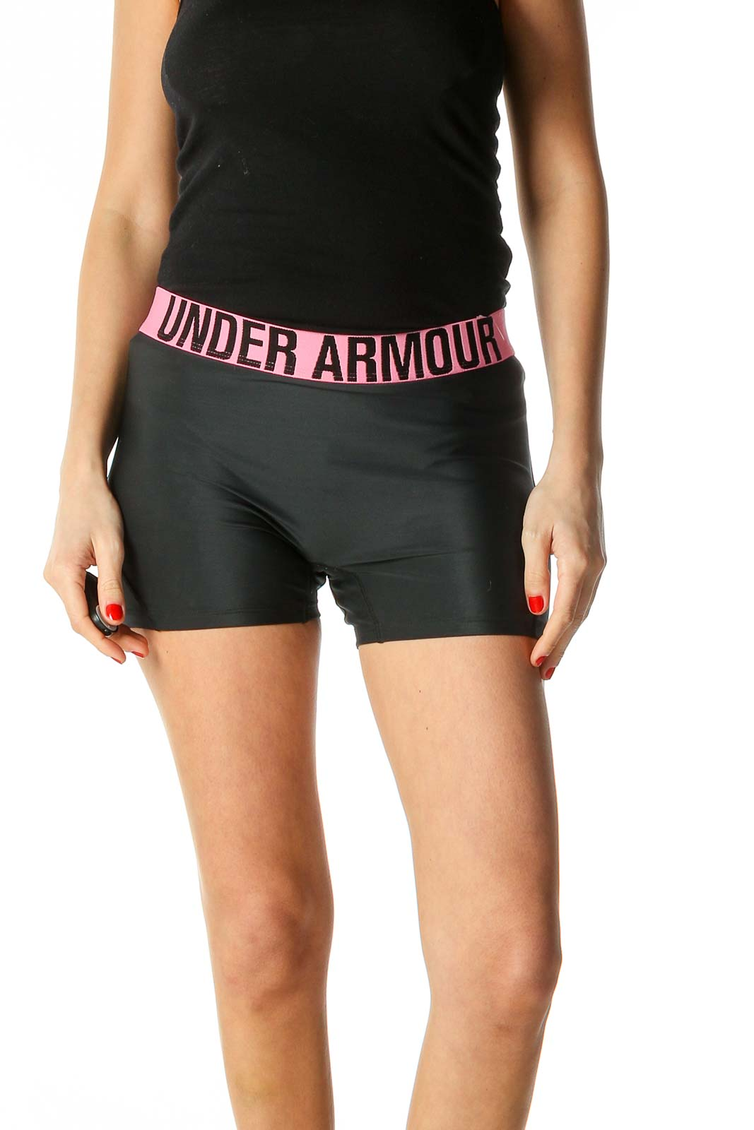 Black Solid Activewear Shorts Front