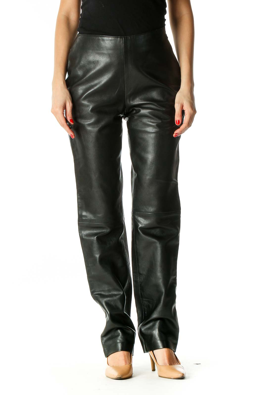 Black Solid Trousers Front