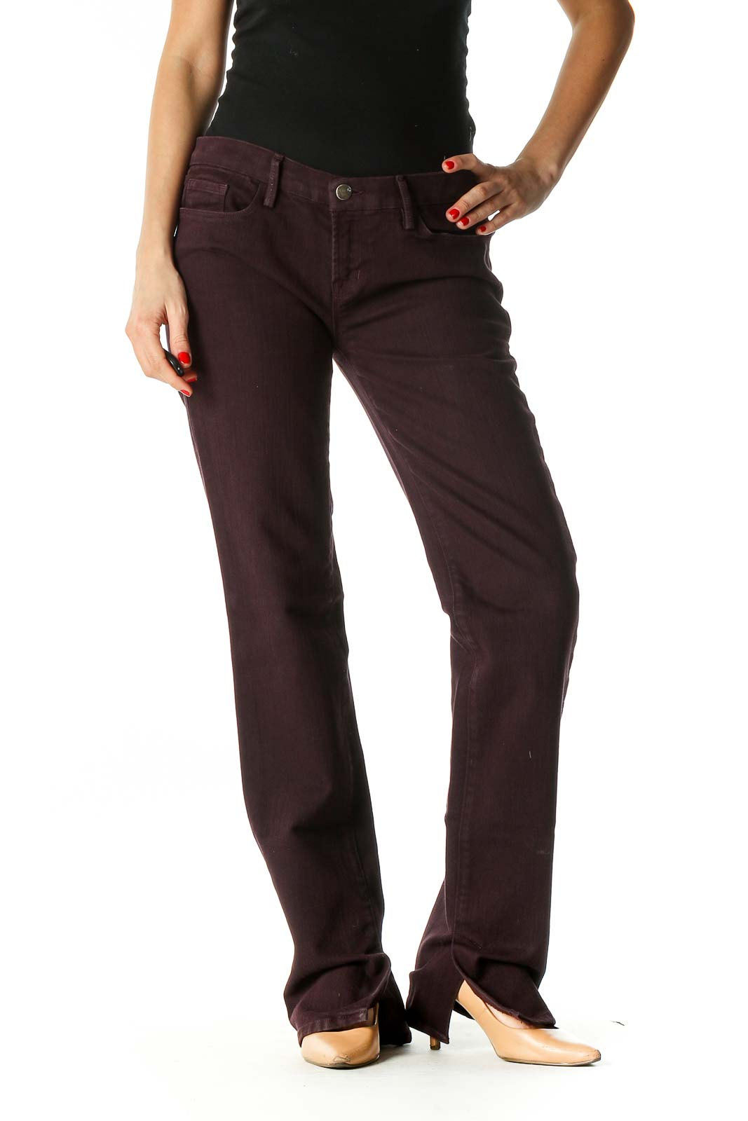 Brown Solid Casual Trousers Front