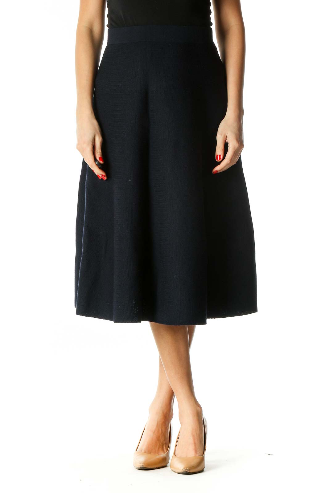 Blue Solid Retro Flared Skirt Front