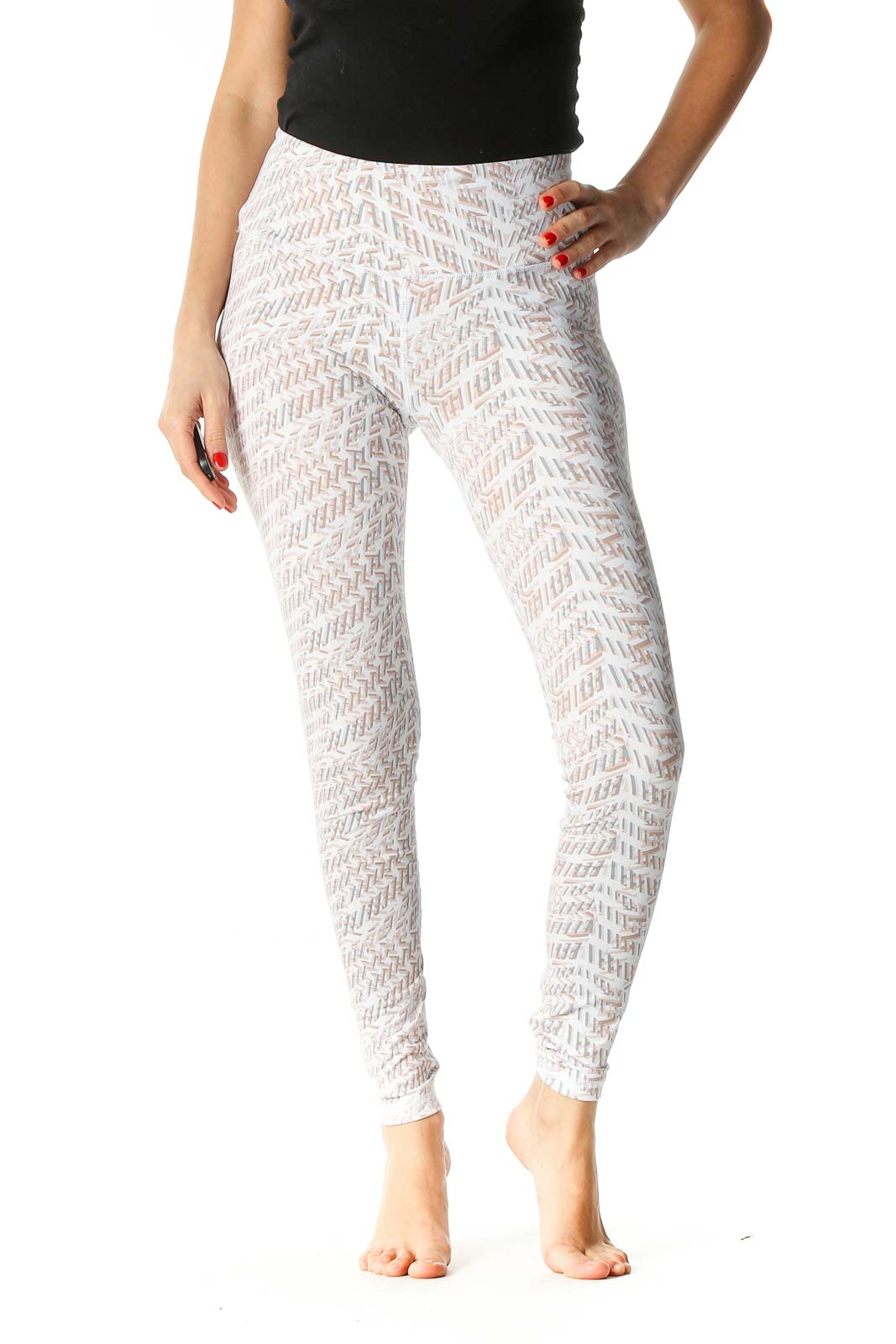 Beige Paisley Casual Trousers Front