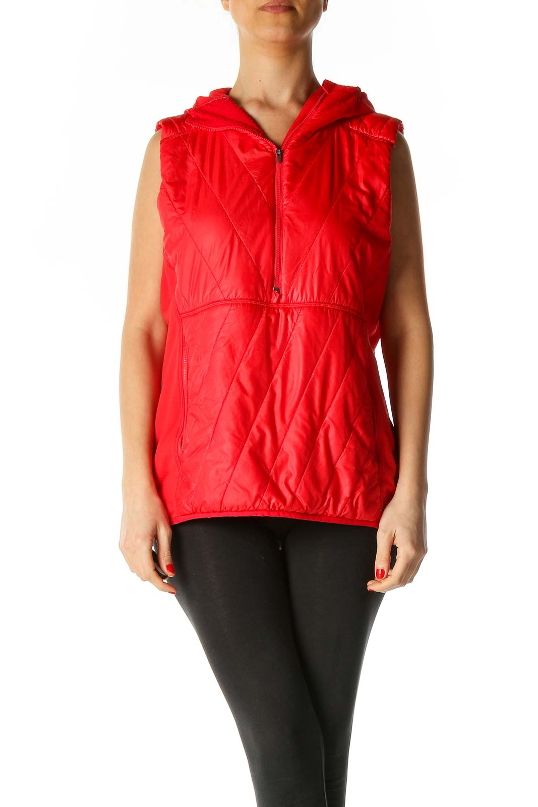 Red Quilted Vest Front