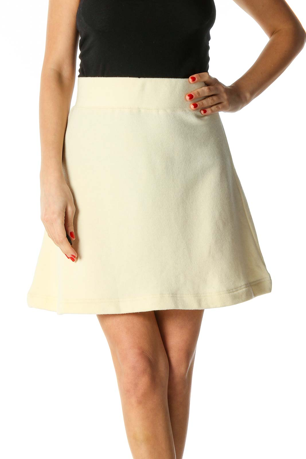 Beige Textured Chic Flared Skirt Front