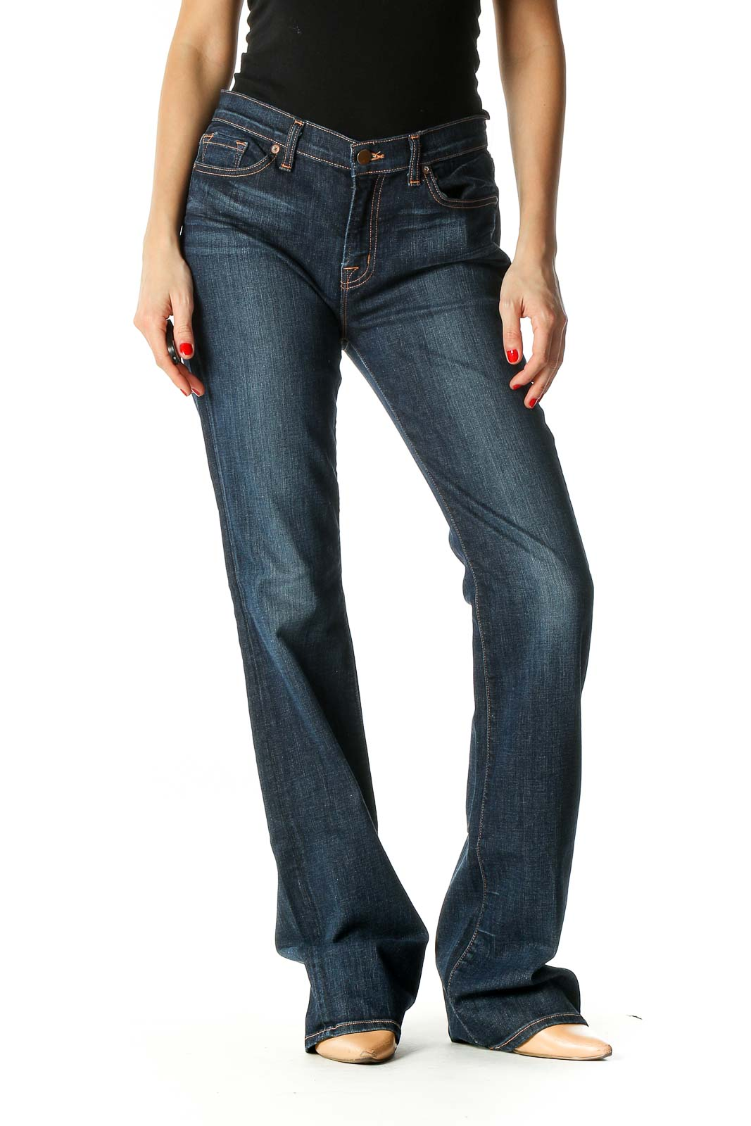 Black Casual Straight Leg Jeans Front