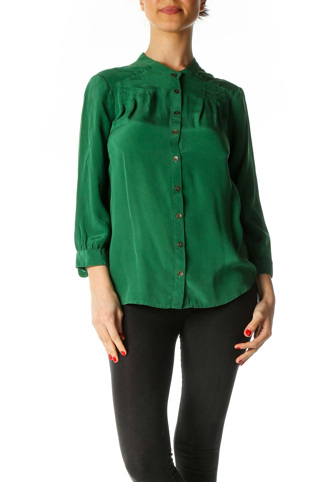 Green Solid Classic Blouse Front
