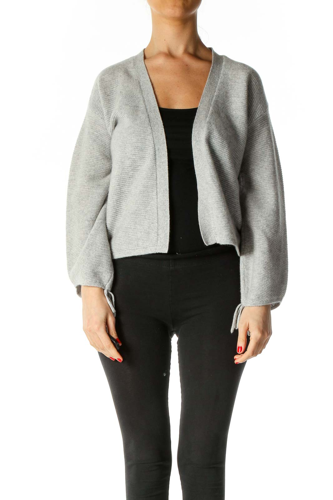 Gray Solid Cardigan Front