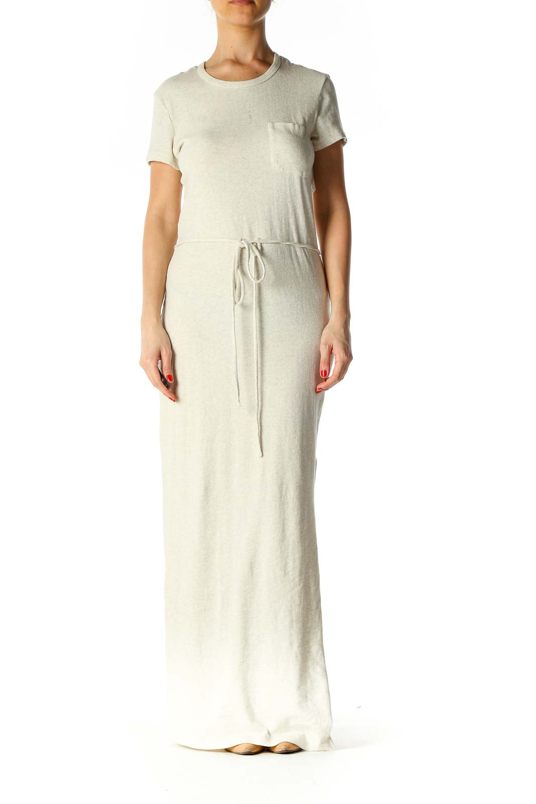 Beige Solid Column Dress Front