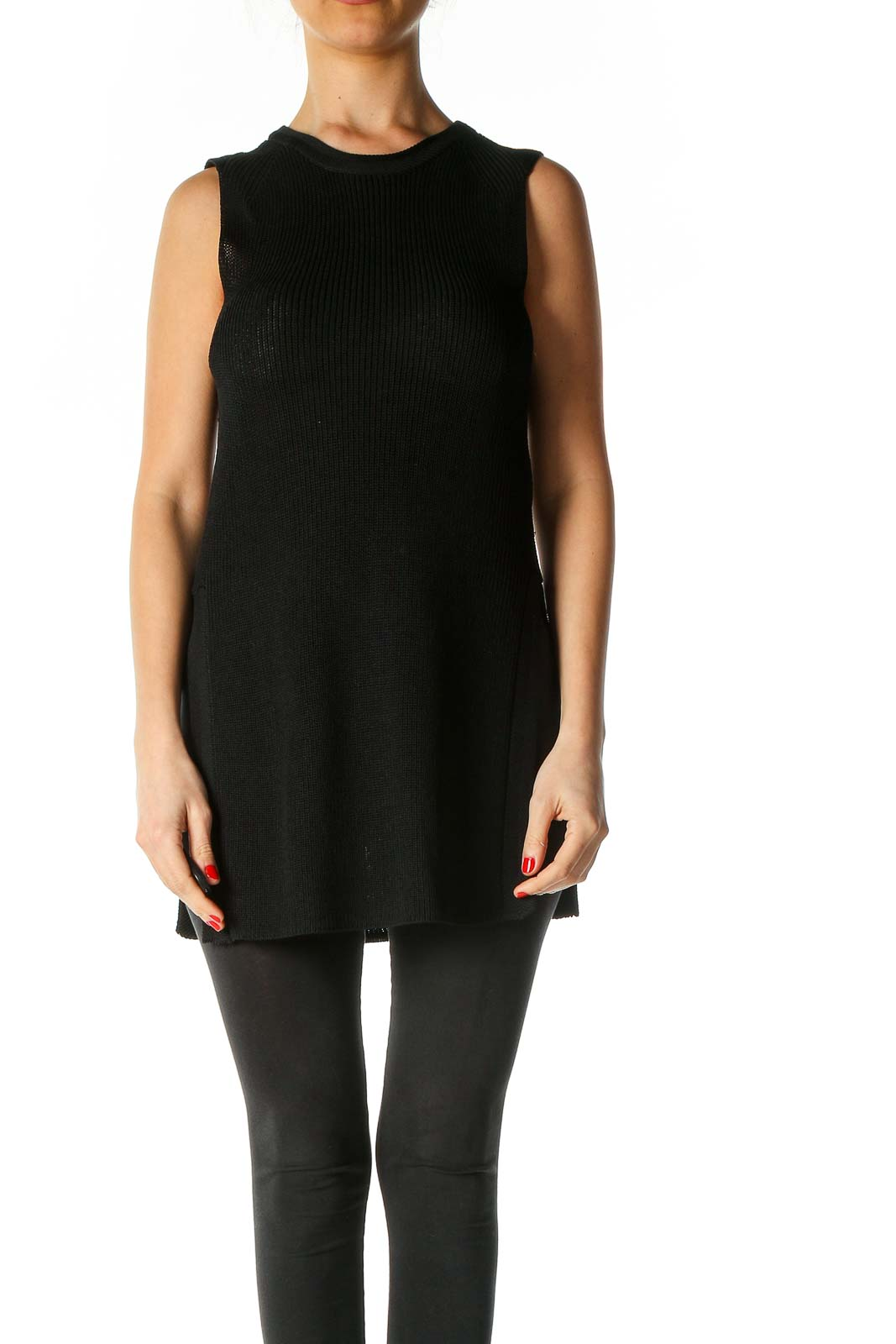 Black Textured Casual Blouse Front