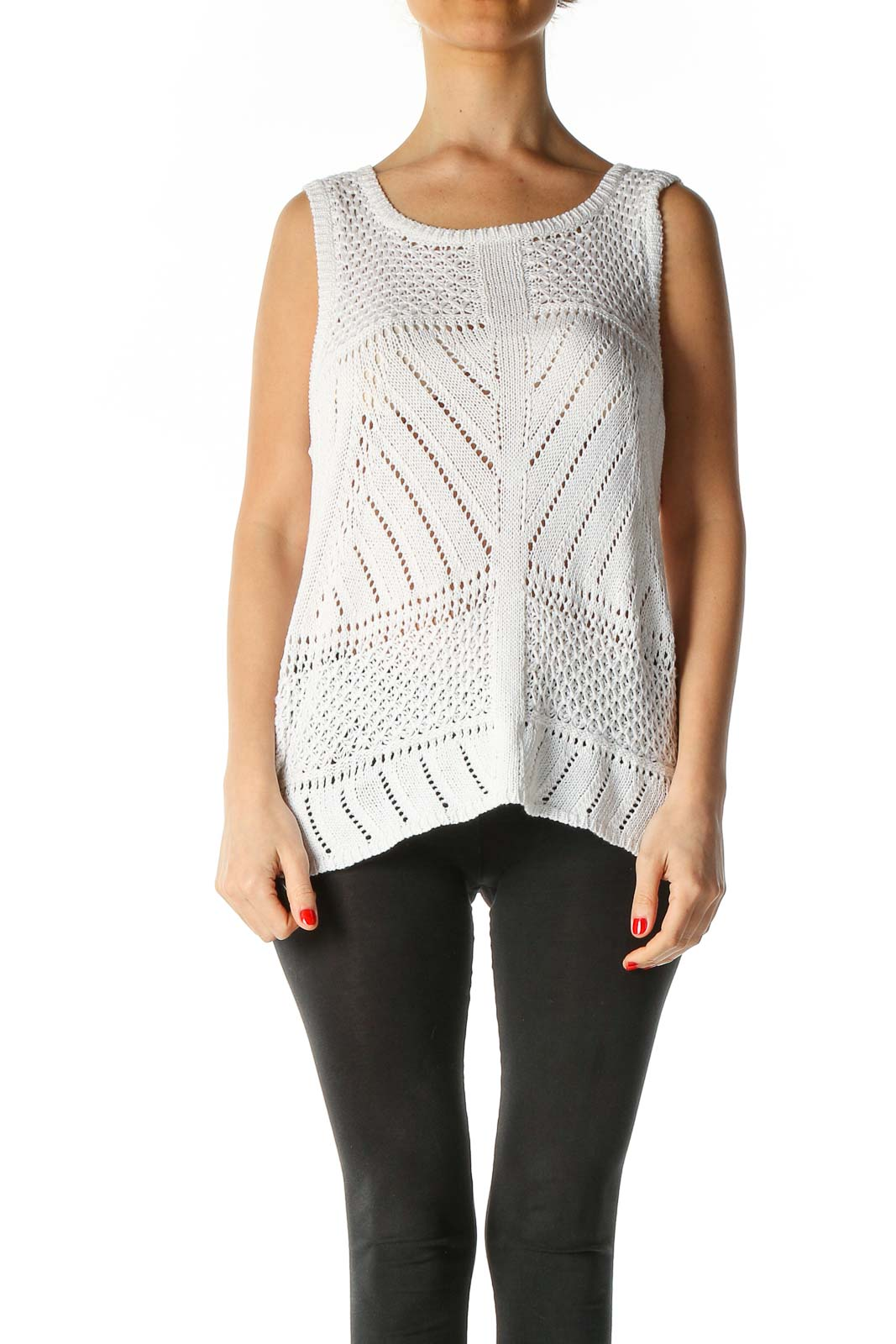 White Textured Tank Top Front