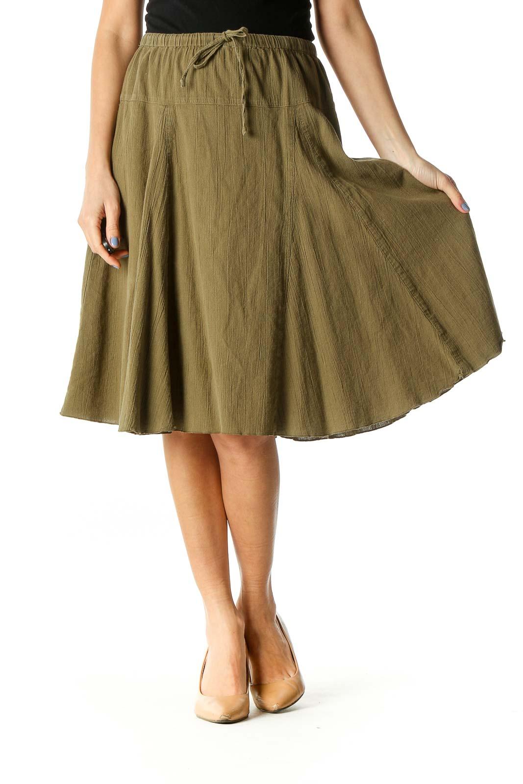 Green Flared Knee-Length Skirt Front