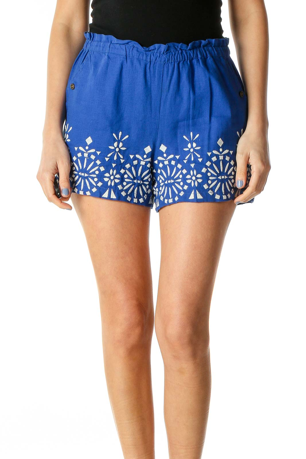 Blue White Embroidered Linen Shorts Front