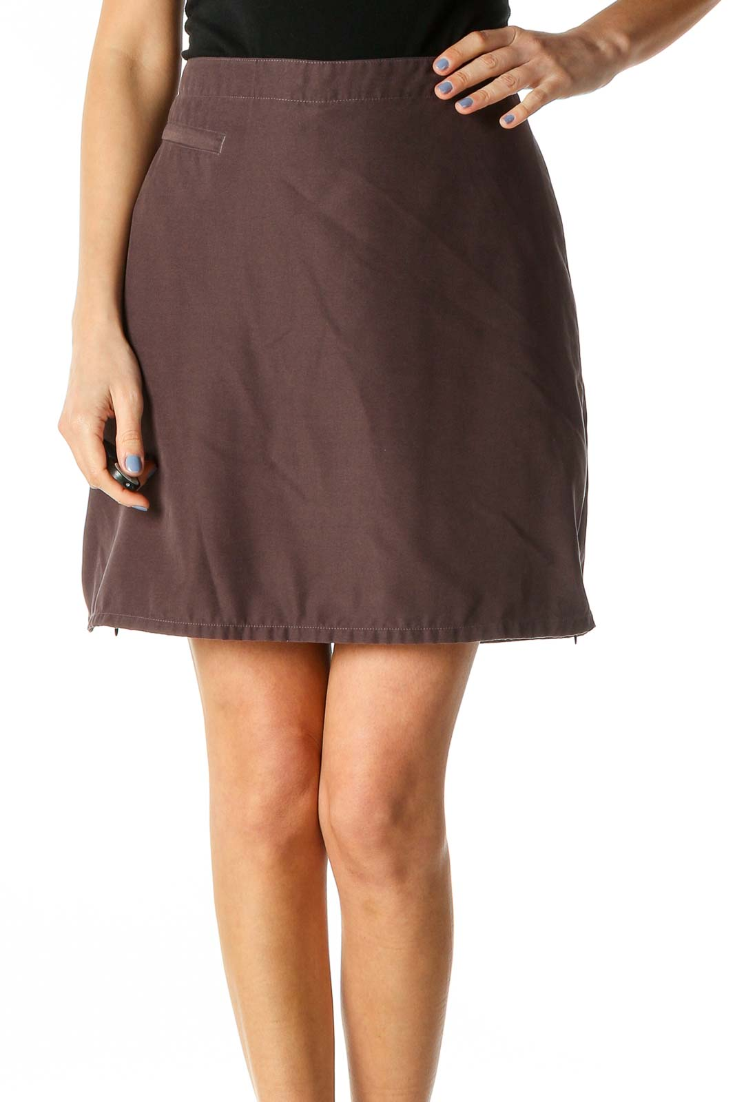 Brown A-Line Skirt Front