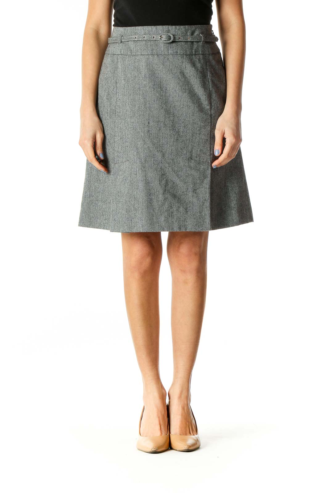 Gray Belted Wool Skirt Front