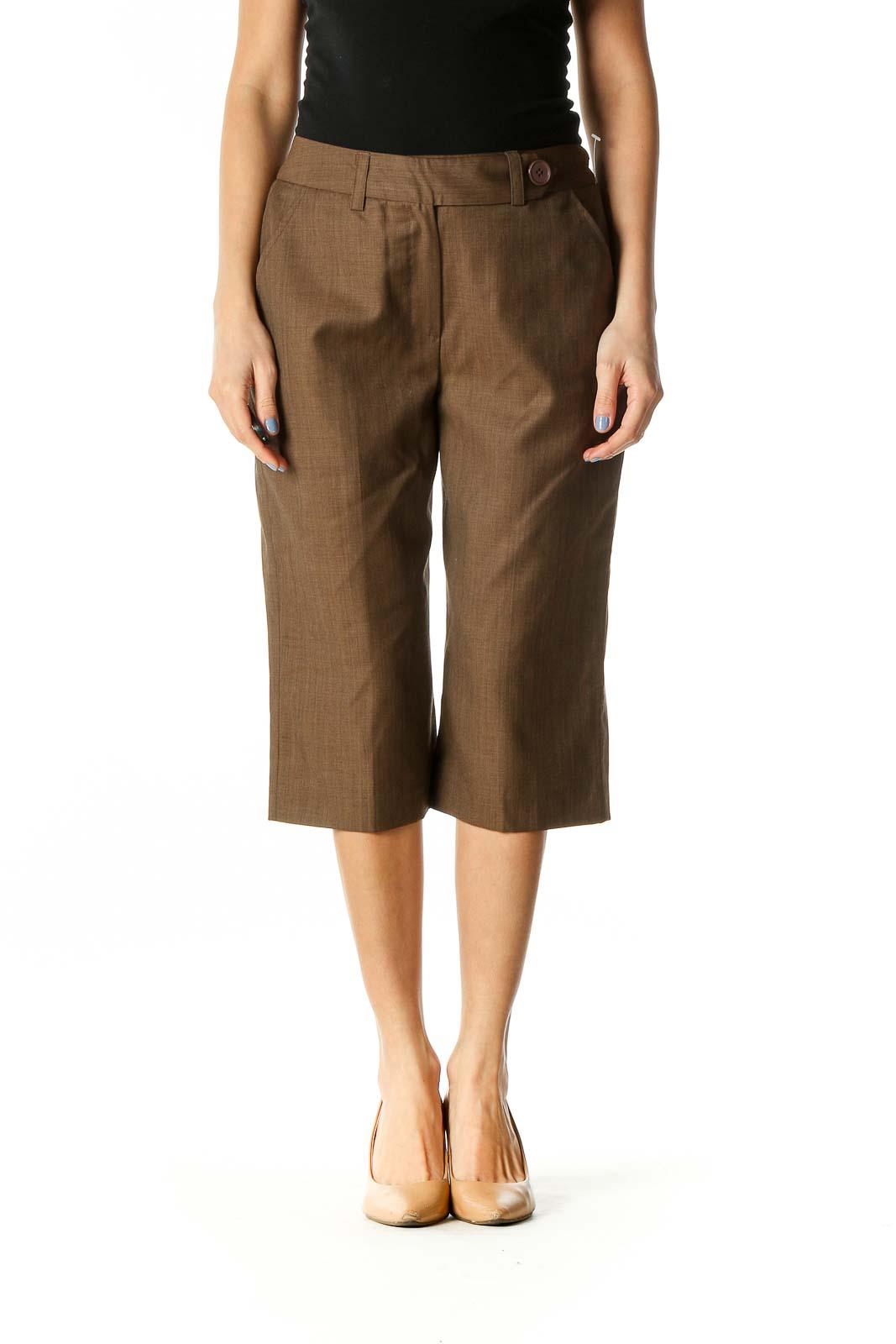 Brown Wool Cropped Slacks Front