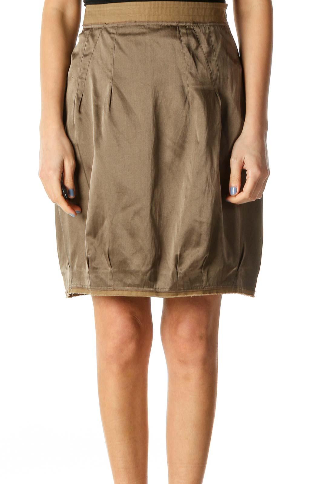 Green Silk Mini Skirt Front