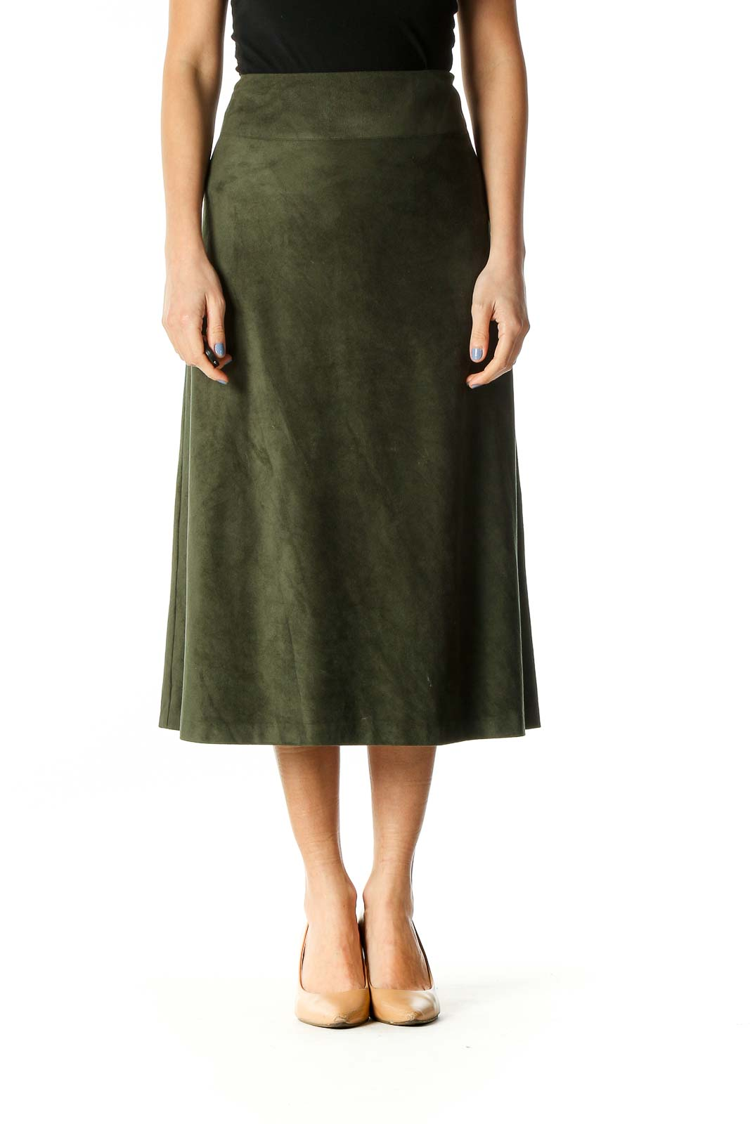 Green Faux Suede Flared Skirt Front
