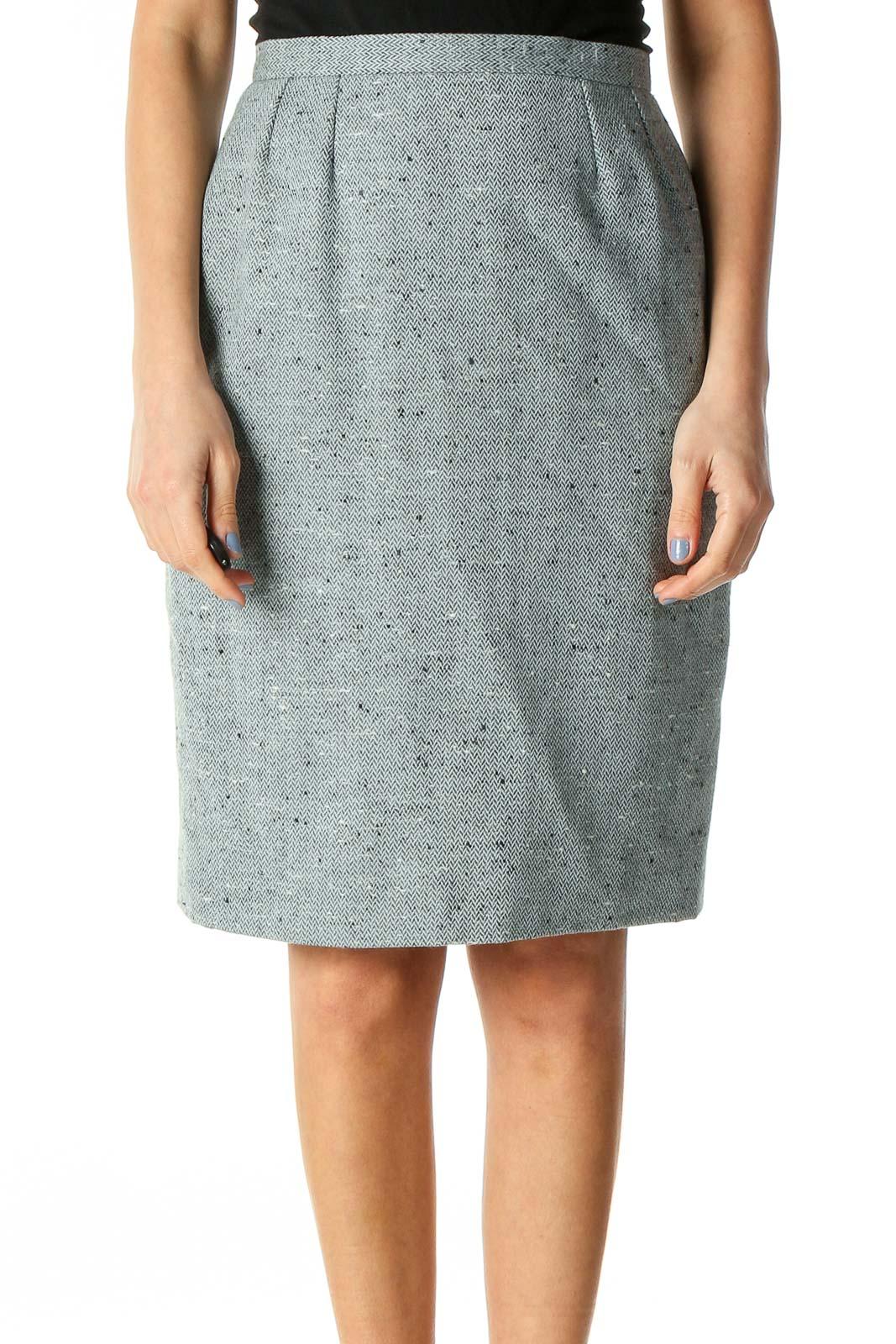 Light Blue Wool Pencil Skirt Front