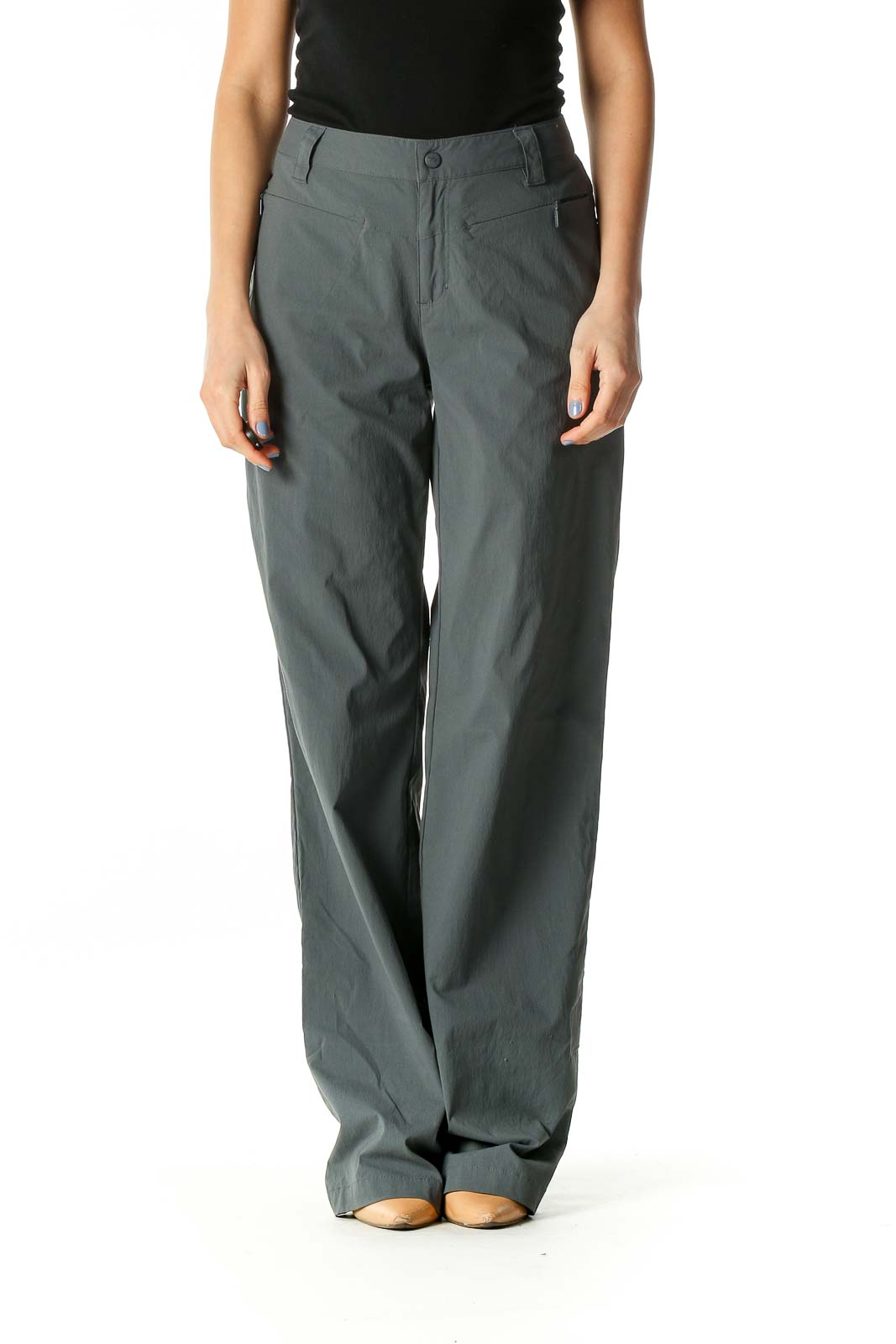 Gray Stretch Straight Leg Outdoor Pants Front