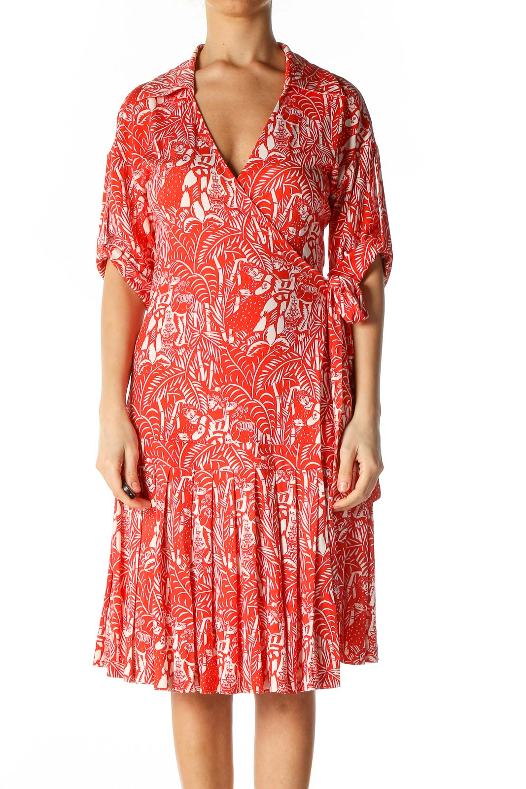 Red White Print 100% Silk Wrap Dress Front
