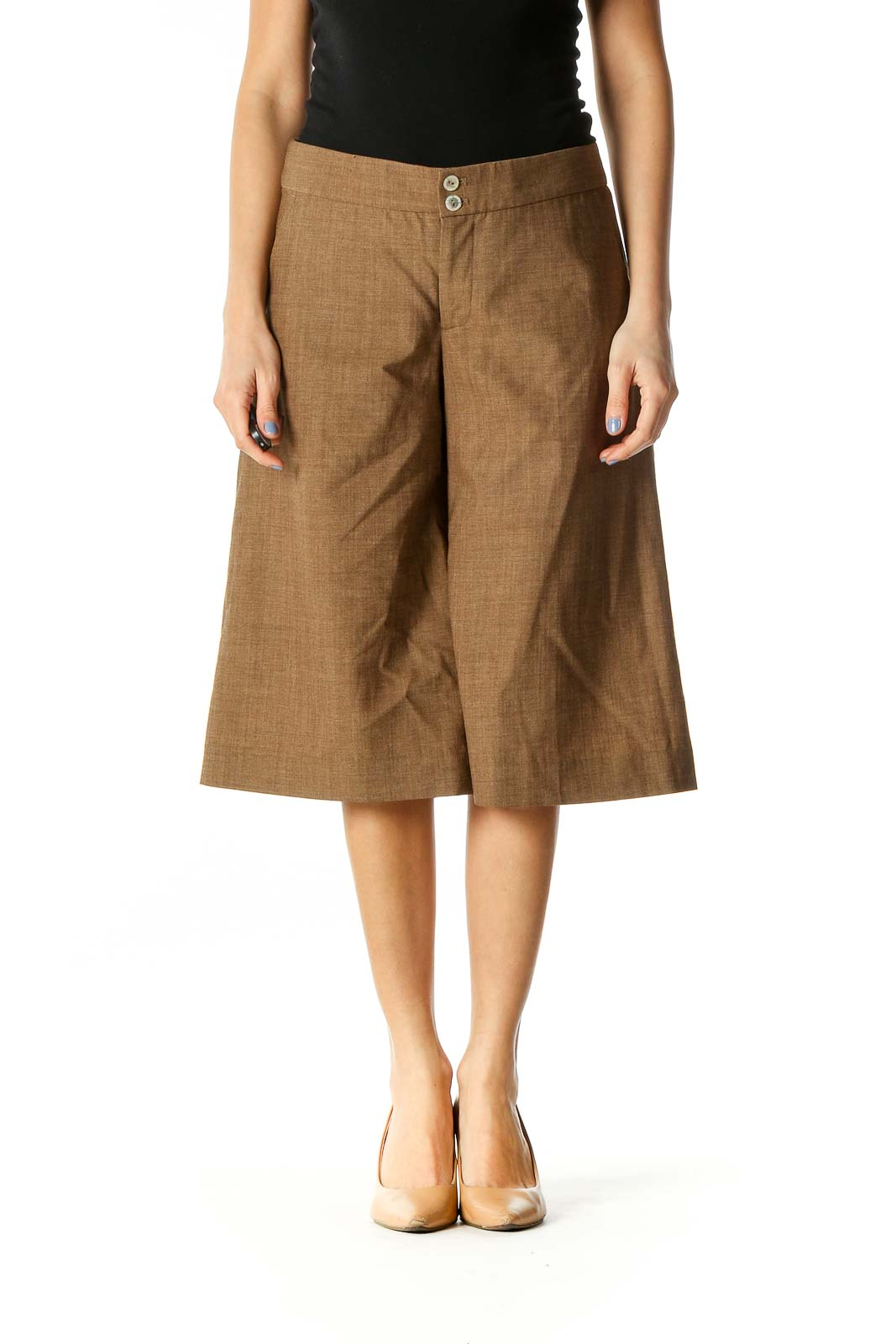 Brown Wool Culottes Front