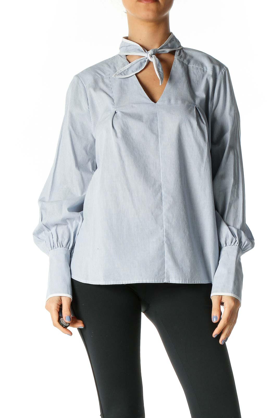Blue White Striped Long Sleeve Flared Shirt Front