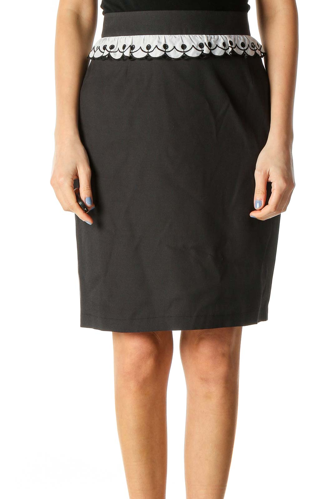 Black Ruffle Detail Silk Pencil Skirt Front