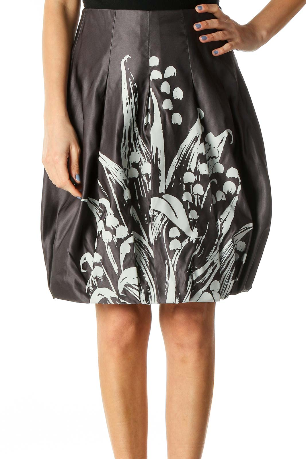 Gray & White Floral-Printed Designer Pleated Bubble Skirt Front