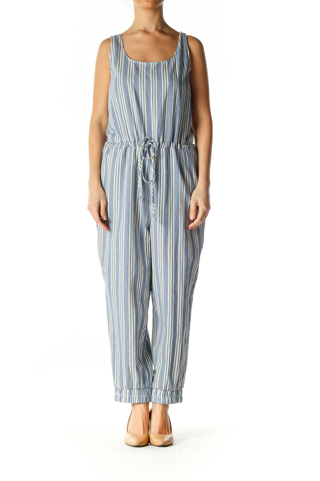 Blue Striped Jumpsuit Front