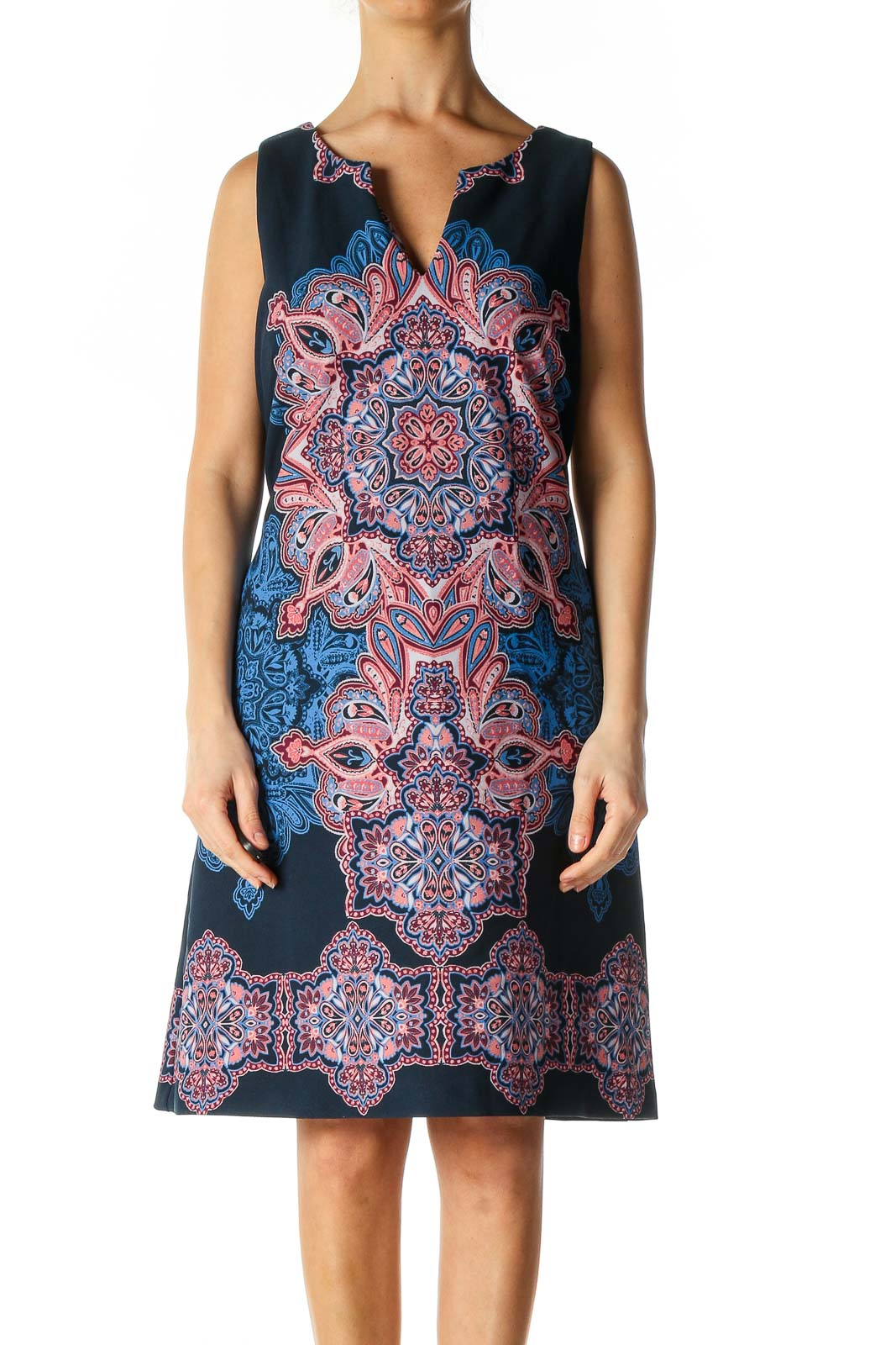 Blue Geometric Print Bohemian A-Line Dress Front