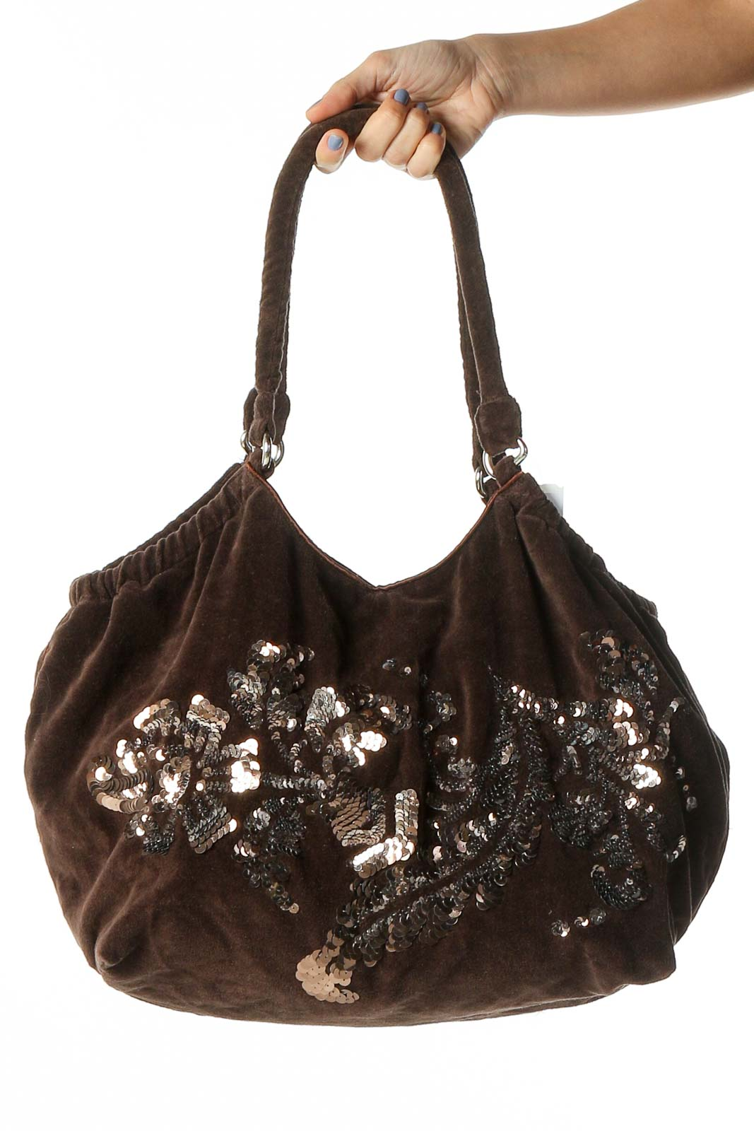 Brown Sequined Shoulder Bag Front