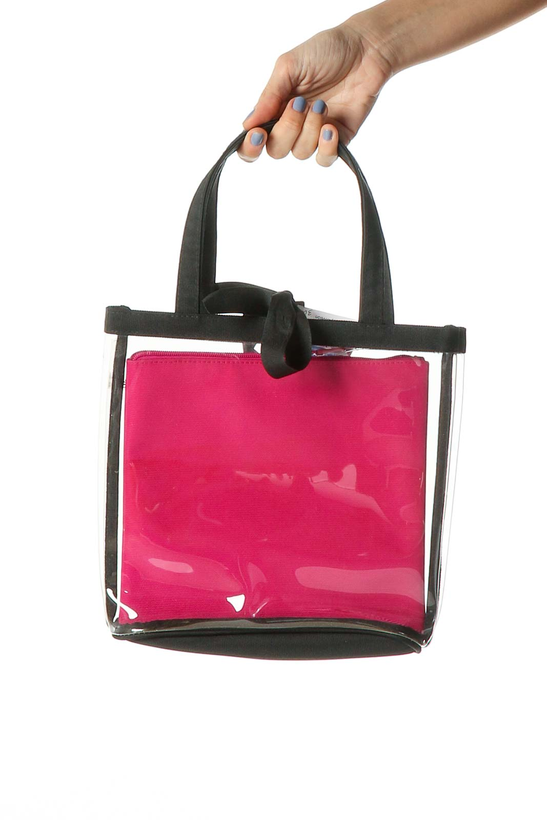 Pink Plastic Tote Bag Front
