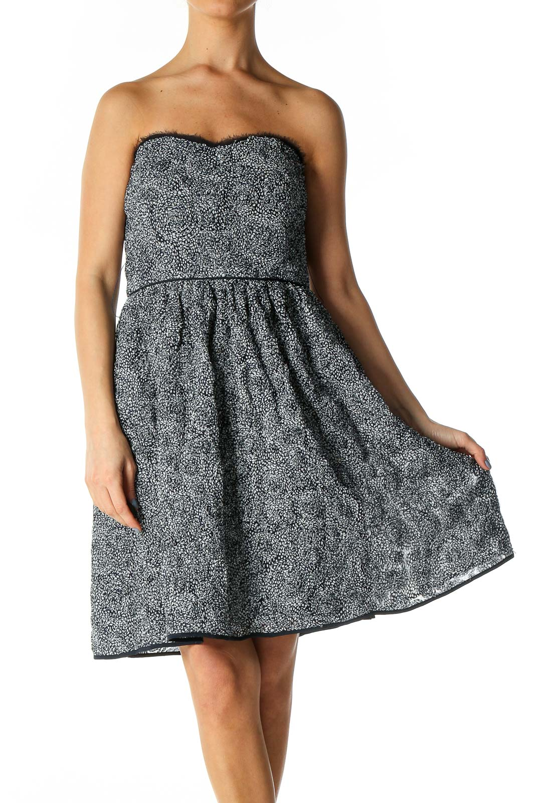 Navy and White Belted Rose Dress Front