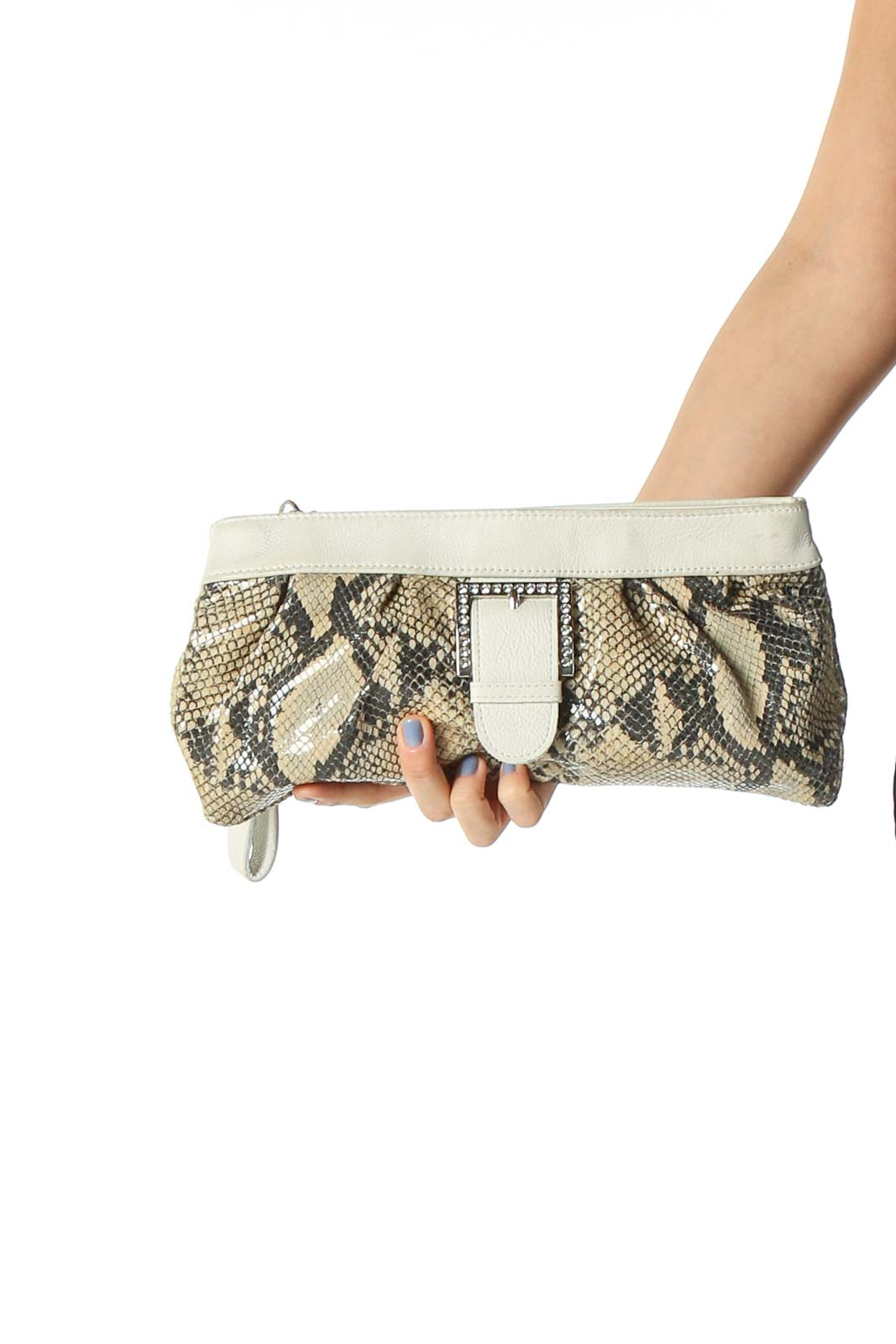 White Buckle Clutch Bag Front