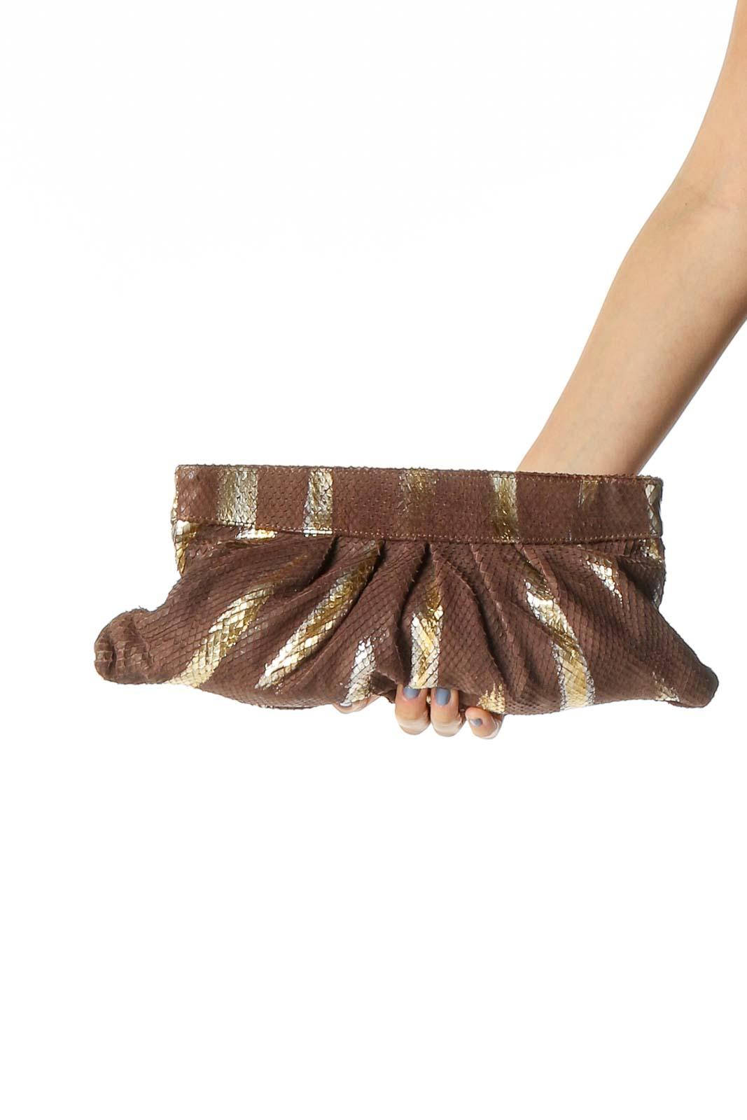 Brown Animal Print Clutch Bag Front