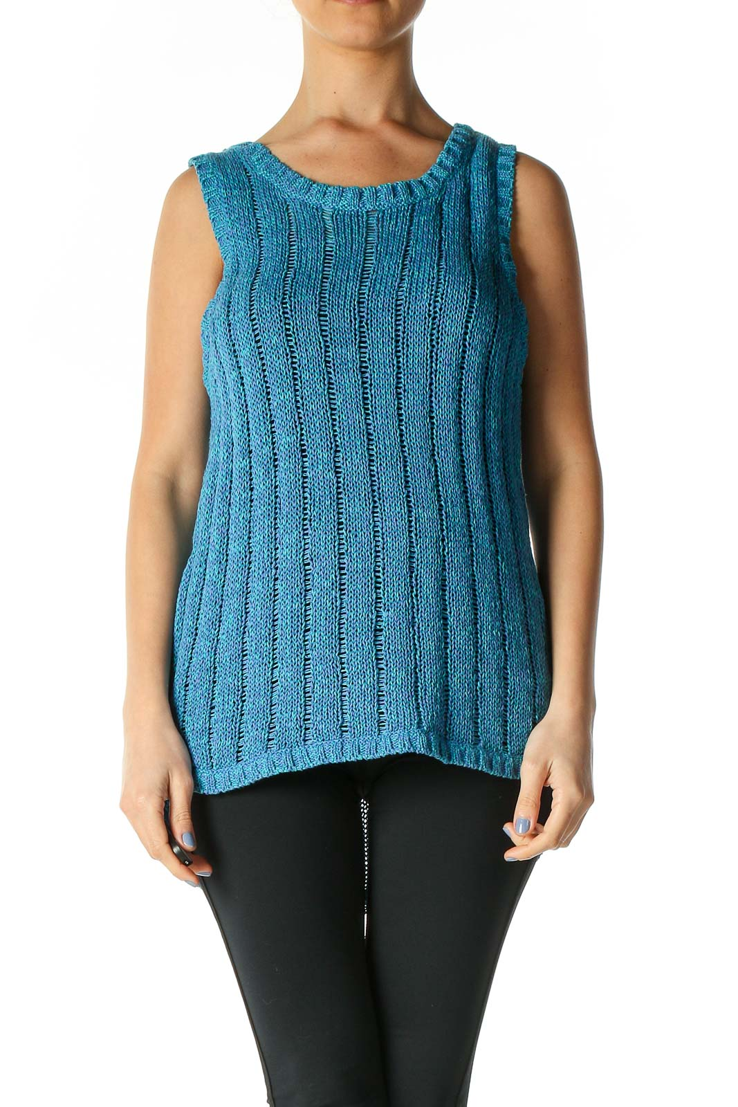 Blue Textured Casual Tank Top Front