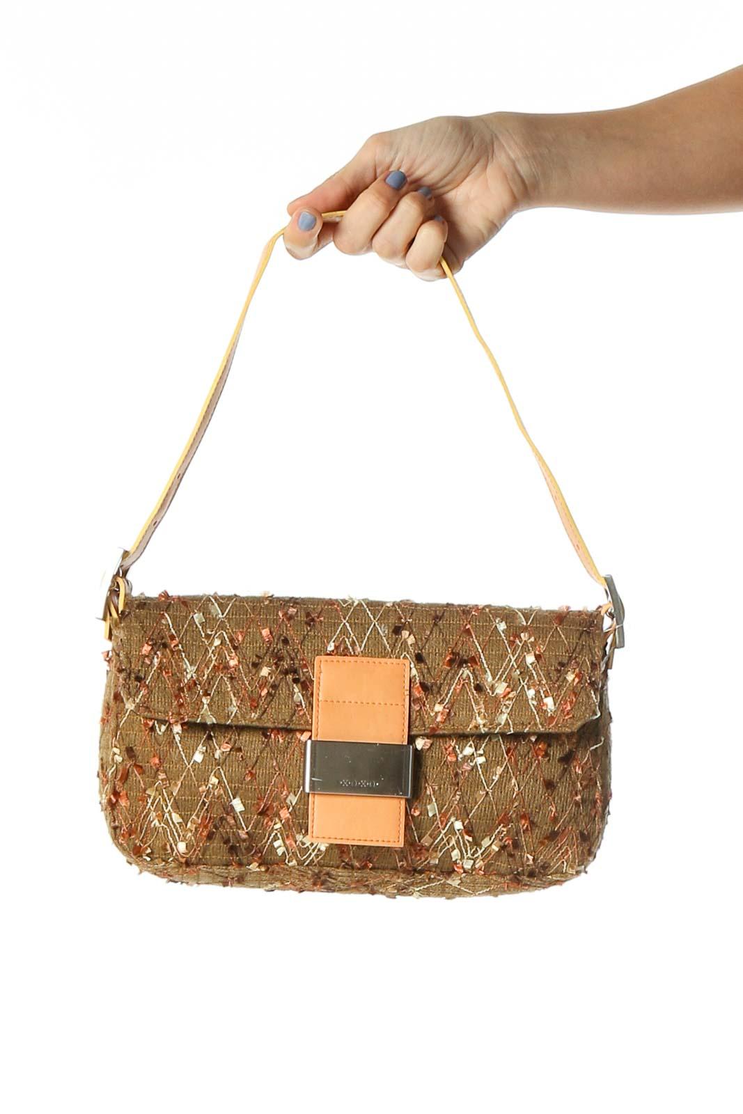 Brown Textured Shoulder Bag Front